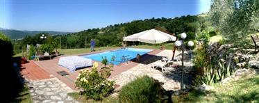 Vue d'ensemble villa avec piscine