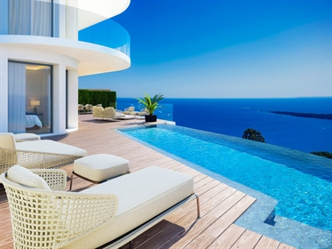 Perched high above the residential neighbourhood of Super Cannes, a few minutes drive from the town