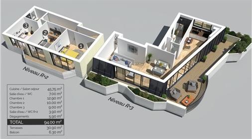 Bordeaux Caudéran T4 duplex neuf