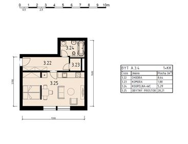 Apartment 1+ku, 46 sqm, Pilsen