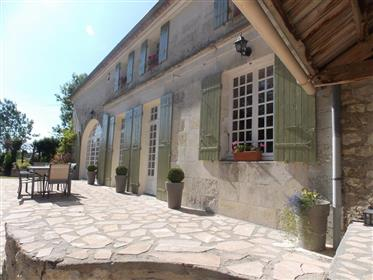 10 mins South East of Saintes, Detached Charentaise house with pool in 2.5 acres