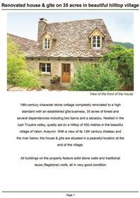 Renoviertes Haus mit zwei Gites und 10 Hektar Land in hübschen Hügeldorf mit 12. Jahrhundert Chat