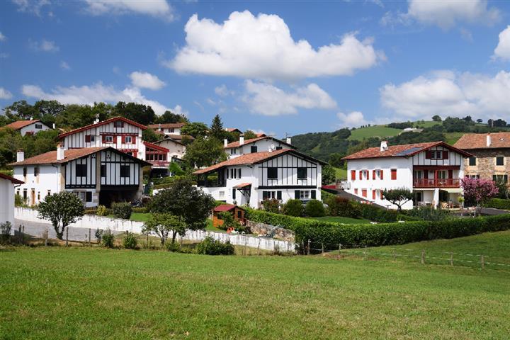 Basque houses in Sare, Pryénées-Atlantiques